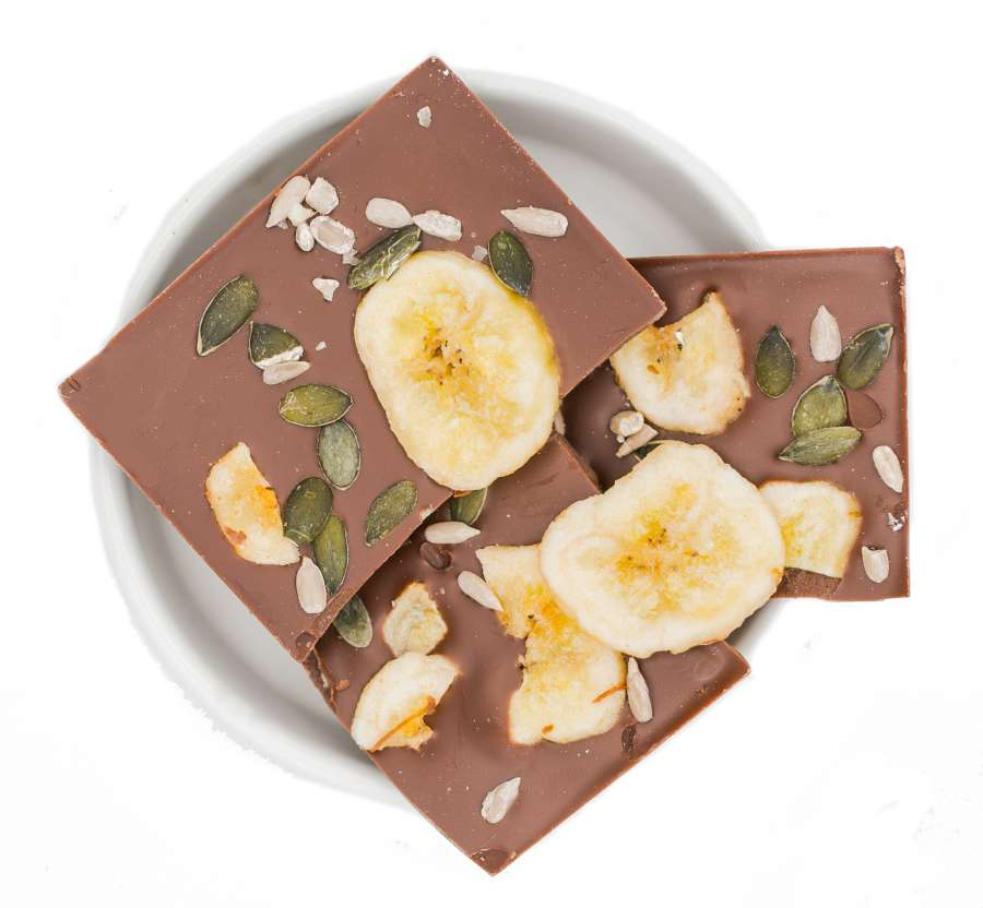 Viel Glück - Bio Schokolade- Banana Kürbis Sonnenblumenkerne | Snacks